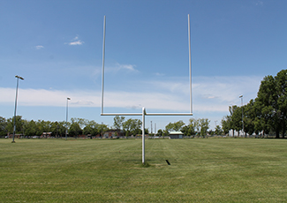 artificial turf field with uprights
