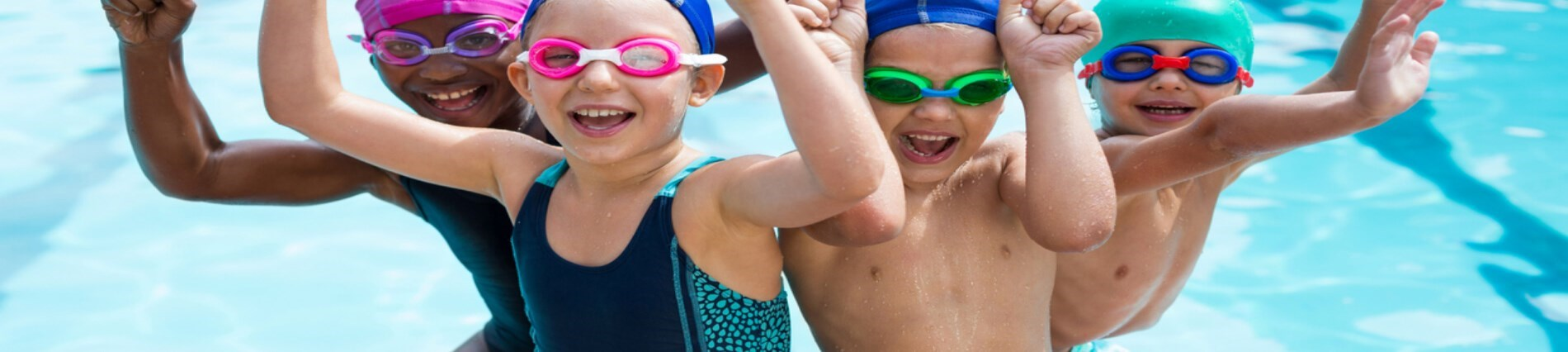 Kids having fun swimming